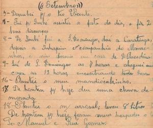 Uma página do diário do avô materno, José Félix. Foi encontrado recentemente pela família em Minas Gerais